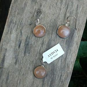 Jewelry - 925 Marble Stone Earring/Pendant Set