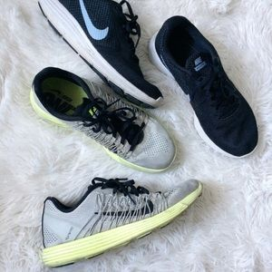 NIKE grey+neon yellow flywire sneakers