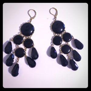 Black Dangle Chandelier Enamel Earrings