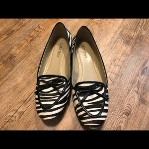 Ellen Tracey zebra print flat shoes