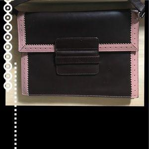 J Crew Pink and Brown Retro Style Envelope Bag