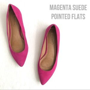 Magenta Suede Flats Pointed Toe