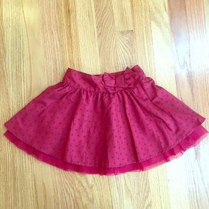 GAP red and black polka dot skirt with tulle