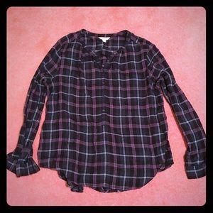 Lucky brand flannel button down shirt women's XL