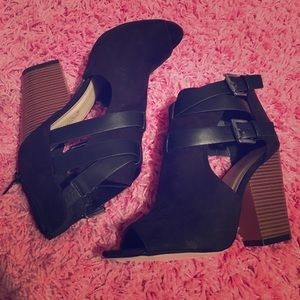 Black open toe booties