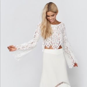 For Love & Lemons Vika lace bell sleeve crop top