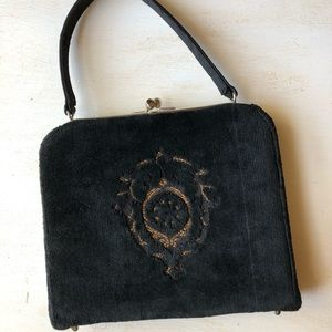1950's vintage black fabric handbag / Stylecraft
