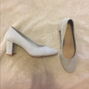Light Blue, Suede, H&M Low Chunky Heels