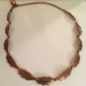 Copper Leaves Necklace, fits SMALL