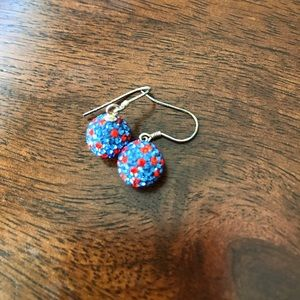 Jewelry - Orange and Blue Gator Crystal Ball Earrings