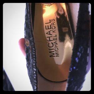 Michael Kors Black Leather Closed Toe High Heel