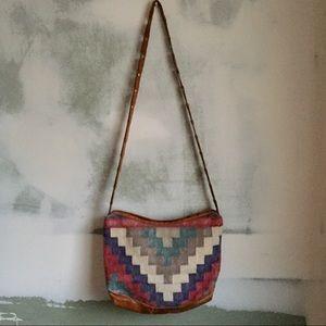 Handbags - Vintage Textile Leather Hobo Bag
