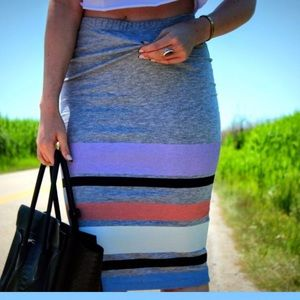 Cotton Midi Skirt with color block on the bottom