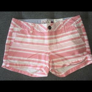 coral striped shorts