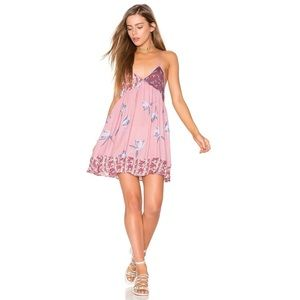 Free people all mixed up pink floral slip dress