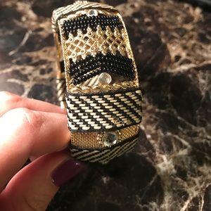Bangle bracelet. Gold with beads, rhinestones, etc