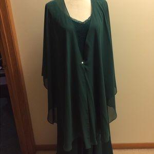 Jackets & Blazers - Dark Green poncho shawl