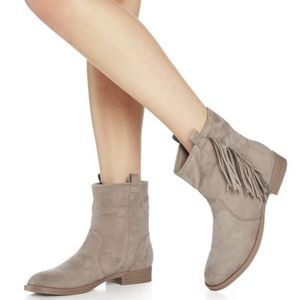 JustFab Taupe Fringe Suede Chleo Ankle Boots