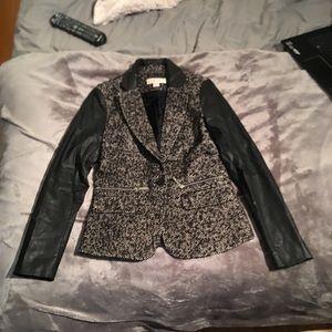 MICHAEL Michael Kors Faux Leather Sleeve Blazer