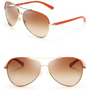 Never worn Tory Burch orange aviator sunglasses