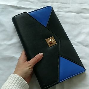 Black and blue clutch bag