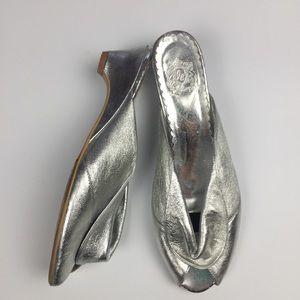 Jeffrey Campbell Metallic Silver Peep Toe Slides
