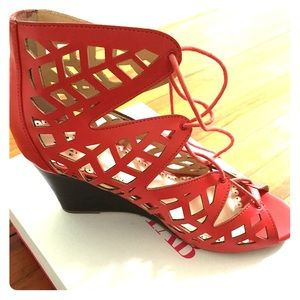 Coral lace up wedge heels