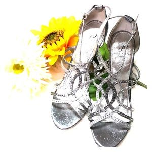 Adrianna Papell metallic silver and gray heels