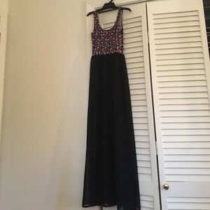 H&M Divided Floral maxi dress with sheer overlay