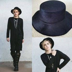 Black Wide Fashion Costume Hat Felt Suede Gothic