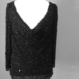 Tops - 100% Silk cowl neck black beaded blouse
