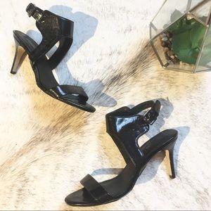 TopShop Black Patent Leather Sandal sz 9