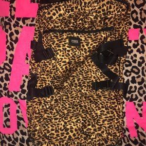 VS Pink Cheetah Leopard Wheelie Rolling Duffle