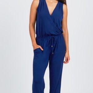 Sleeveless, blue, drawstring jumpsuit
