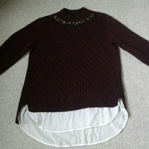 Simply Vera Embellished Mock Neck Sweater