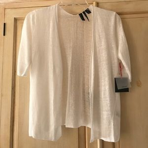 Natural white 100% linen knit  shrug-cardi- NWT-Sm