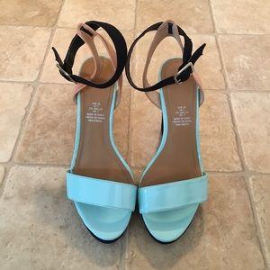Navy Blue, Teal, Tan Tricolor Chunky Heels