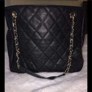 Black quilted, large tote/purse with chain handles