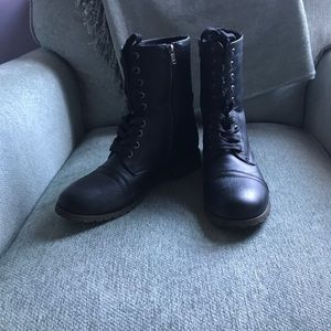 Rampage black ankle combat boot