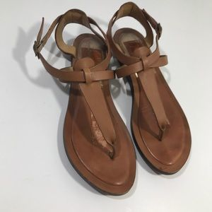 Dolce Vita T Strap Leather Sandals Size 6 brown
