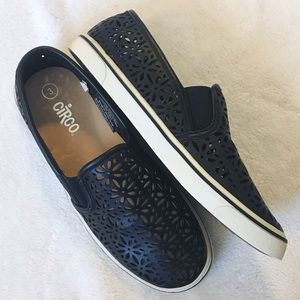 Circo Black Faux Leather Slip Ons BRAND NEW