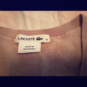 Women's Lacoste Knit V neck Sweater Sze 36S beige