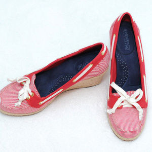Sperry Topsider | Red & White Boat Wedges