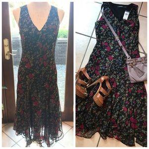 Ralph Lauren NWT Sleeveless Black Floral Dress