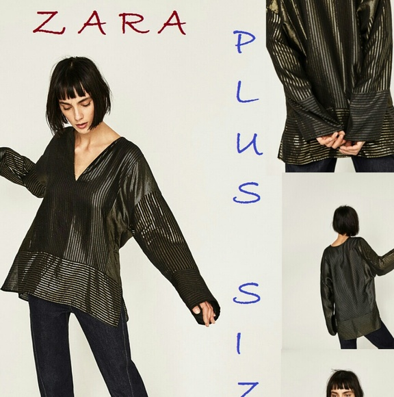 010787d7f92 ZARA Plus Size Striped Shiny Patchwork Tunic