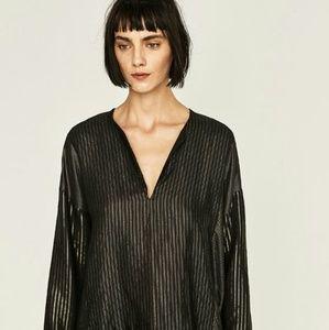 249d8d2005d Zara Tops - ZARA Plus Size Striped Shiny Patchwork Tunic
