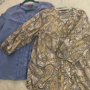 Bundle of 2 button up blouses
