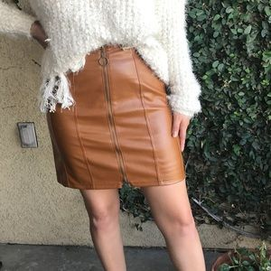 NEW✨ Cognac Faux Leather Mini Skirt