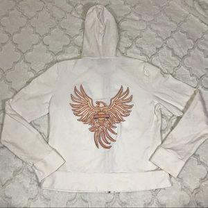 Women's zip up sweater Harley Davidson eagle L