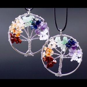 Chakra Tree of Life 7 Gemstone Pendant Necklace